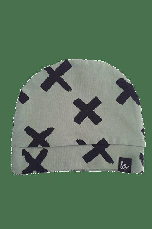 Painted cross mutsje (mosgroen)