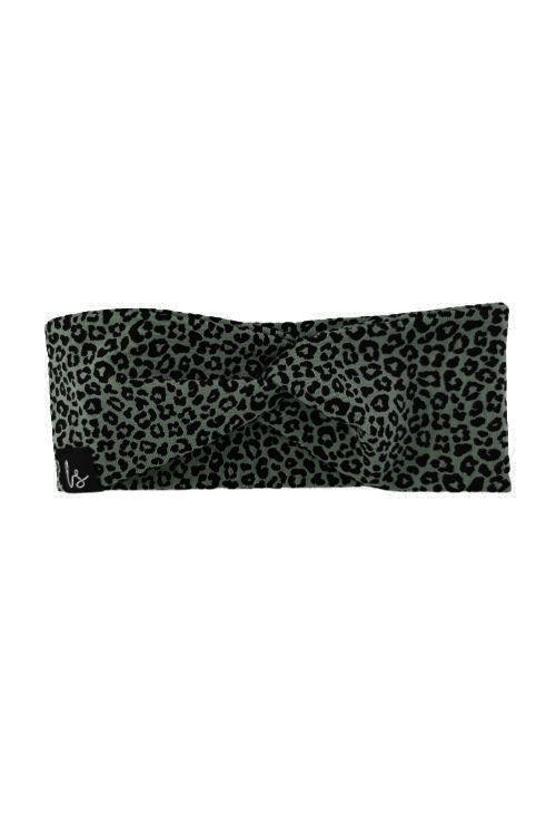 Twist haarbandje luipaard kaki (small print)
