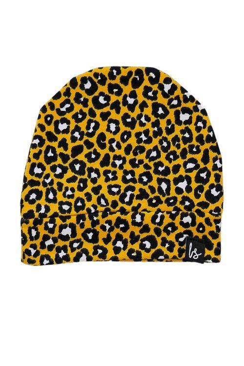 Leopard mutsje (oker) (small print)
