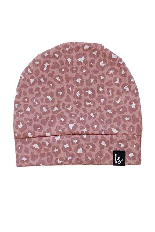 Leopard mutsje (roze) (small print)