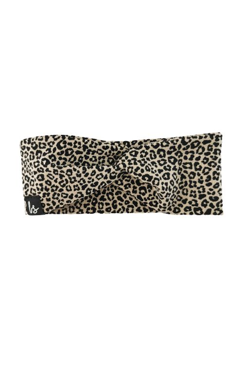 Twist haarbandje luipaard beige (small print)