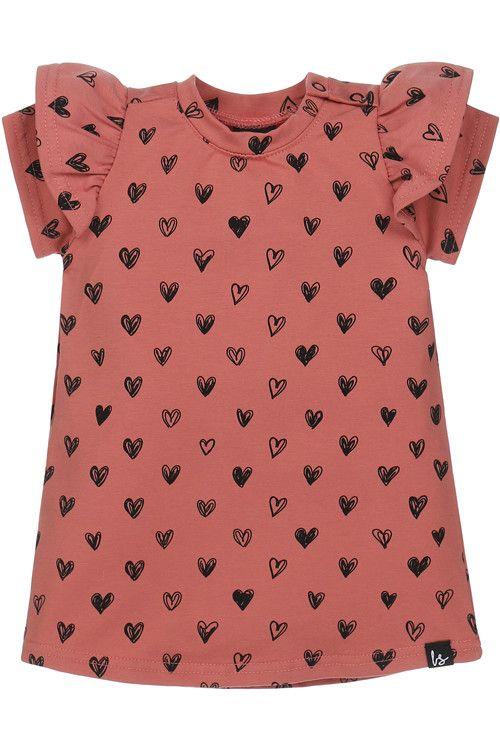 A-lijn jurkje hartjes (roze) (korte mouw)
