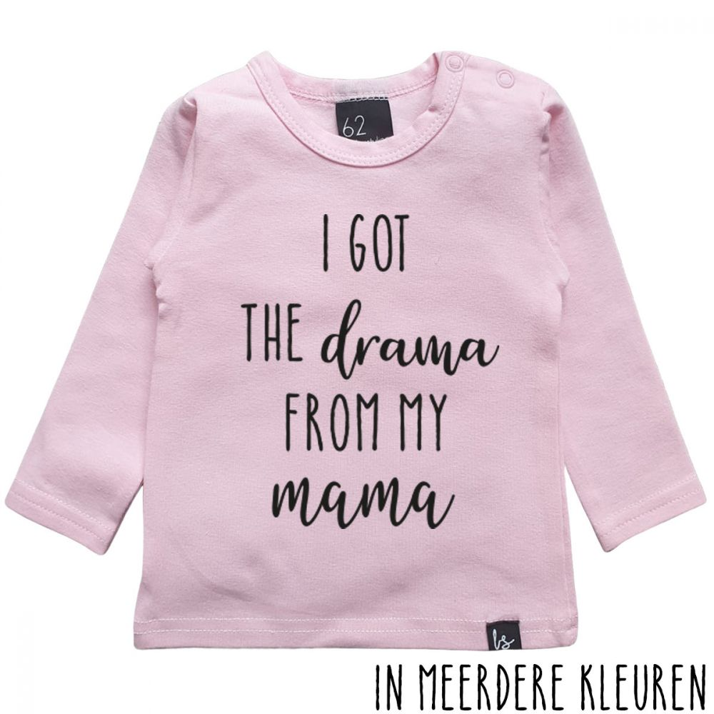 I got the drama from mama longsleeve shirt Roze/Zwart