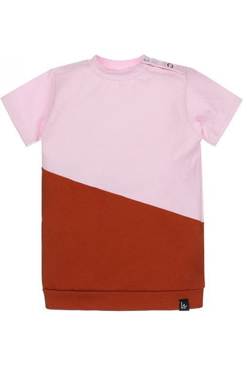 Mixed tee-dress (roest/roze)