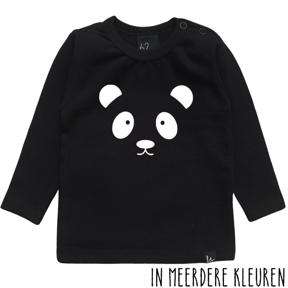 Panda longsleeve shirt Zwart/Wit
