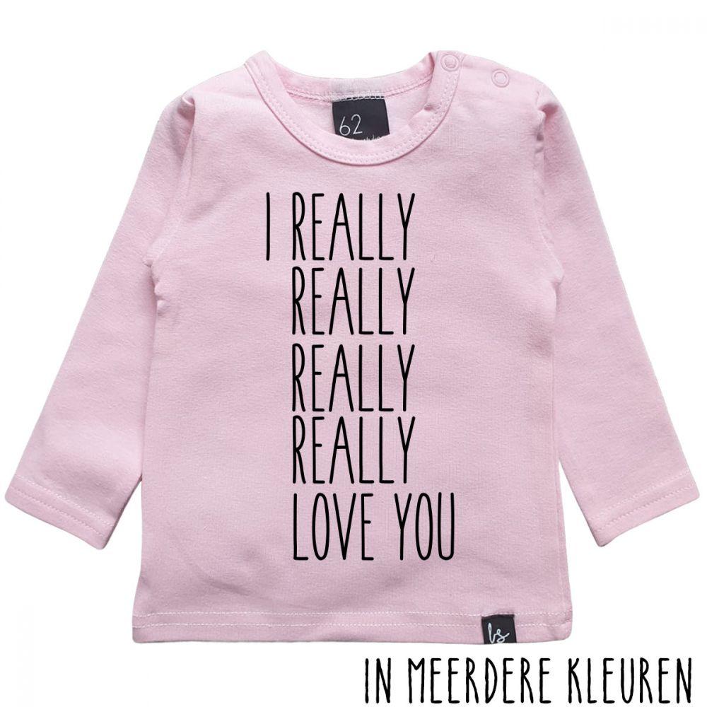 Really love you longsleeve shirt Roze/Zwart