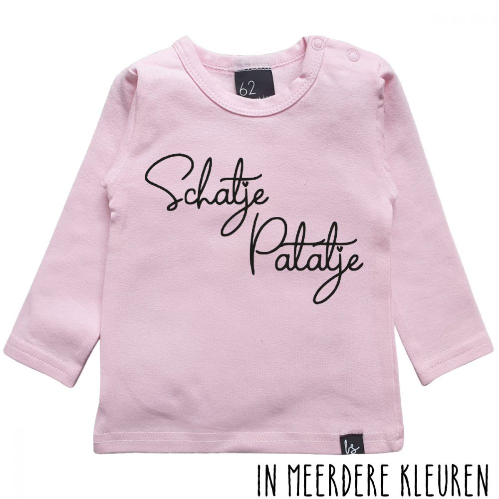 Schatje patatje longsleeve shirt Roze/Zwart