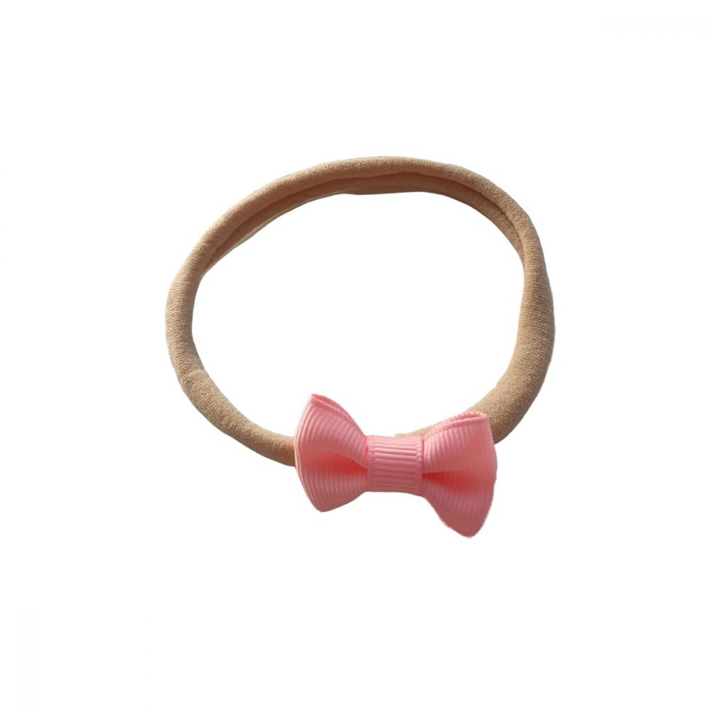 Strikjes hartjes haarbandje (sand/roze)