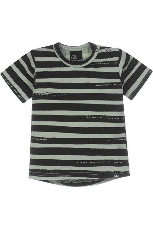 Stripes t-shirt (mosgroen)(rounded back)