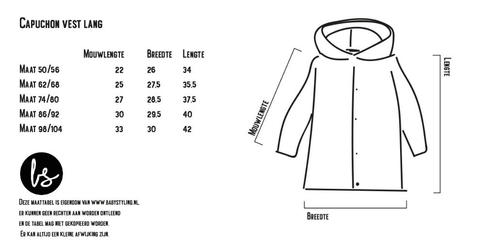 Maattabel Babystyling Capuchon vest
